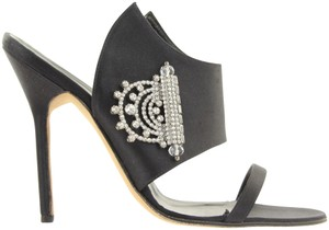 Manolo Blahnik Special Occassion Rhinestones Satin Black Sandals