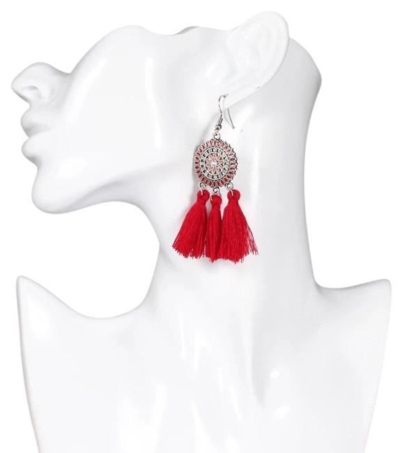 Item - Red Summer New Style Vintage Color Fringed Feathers Long For Women Fashion India Bohemian Earrings