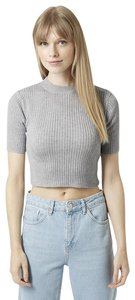 Topshop Crop Funnel Neck Cropped Sweater Top Grey