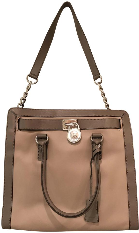 da7628a83532 Michael Kors Satchel Shoulder Convertible Chain Silver Tote in Dark Taupe  Elephant Grey ...