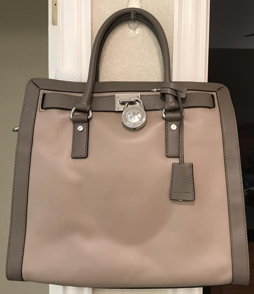 f81485be5ec3 Michael Kors Hamilton North South Frame Out Large Satchel Dark Taupe  Elephant Grey Leather Tote - Tradesy