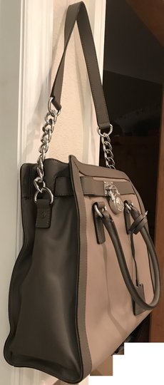 Michael Kors Satchel Shoulder Convertible Chain Silver Tote in Dark Taupe Elephant Grey