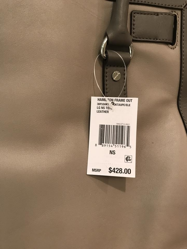 23177a8ac4e1 Michael Kors Satchel Shoulder Convertible Chain Silver Tote in Dark Taupe  Elephant Grey. 123456789101112