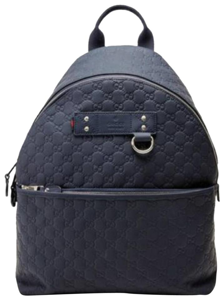 Gucci Nwts Guccissima Med Navy Leather Backpack - Tradesy