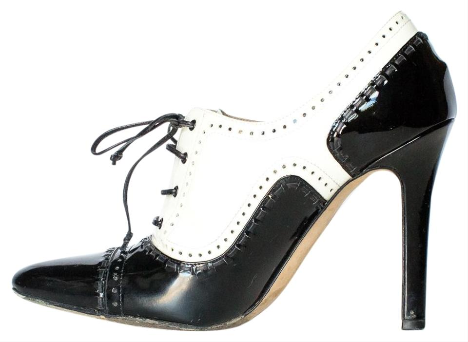 Manolo Blahnik Black/White Leather Patent Leather Black/White Ankle Boots/Booties 02ce04