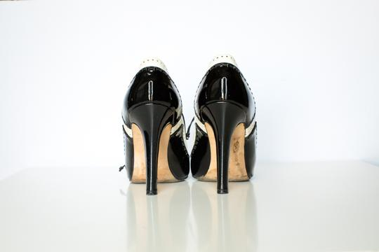 Manolo Blahnik Ankle And Patent Leather Black/white Boots