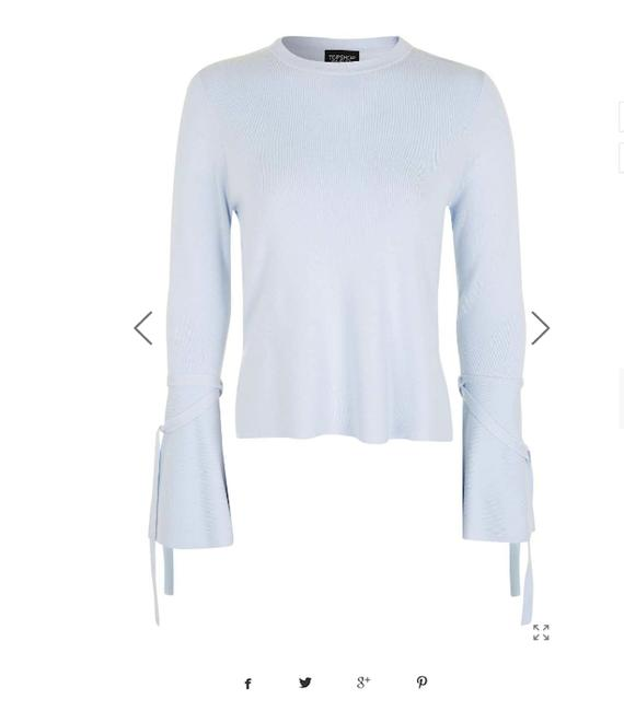 Preload https://img-static.tradesy.com/item/22993844/topshop-pale-blue-nwot-sleeve-fluted-sweaterpullover-size-4-s-0-0-650-650.jpg