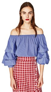 Zara Off The Shoulder Ruffle Sleeve Summer Top Blue & White