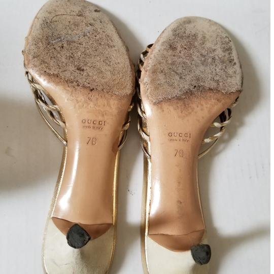 Gucci Gold & Off White Mules