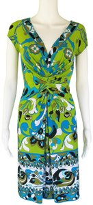 Muse short dress Lime Green Slinky Ruched Print Pull-on on Tradesy