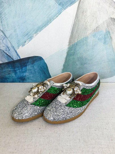 Gucci Glitter Falacer Sneakers Bees Silver Athletic