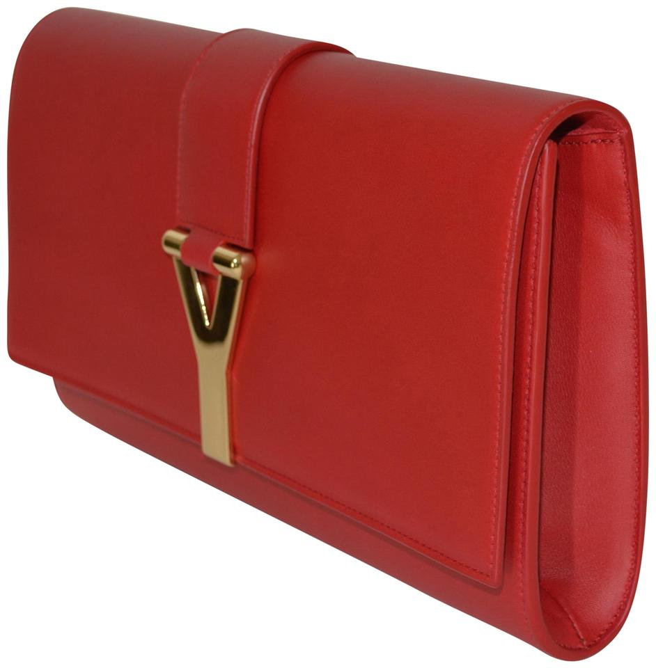 2035cd969 Saint Laurent Belle de Jour Ysl Womens Red Patent Leather Clutch ...