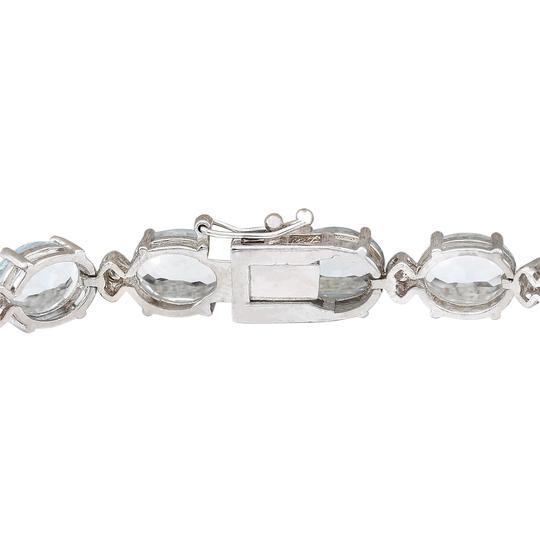 Fashion Strada 35.75 Carat Natural Aquamarine 14K White Gold Diamond Bracelet