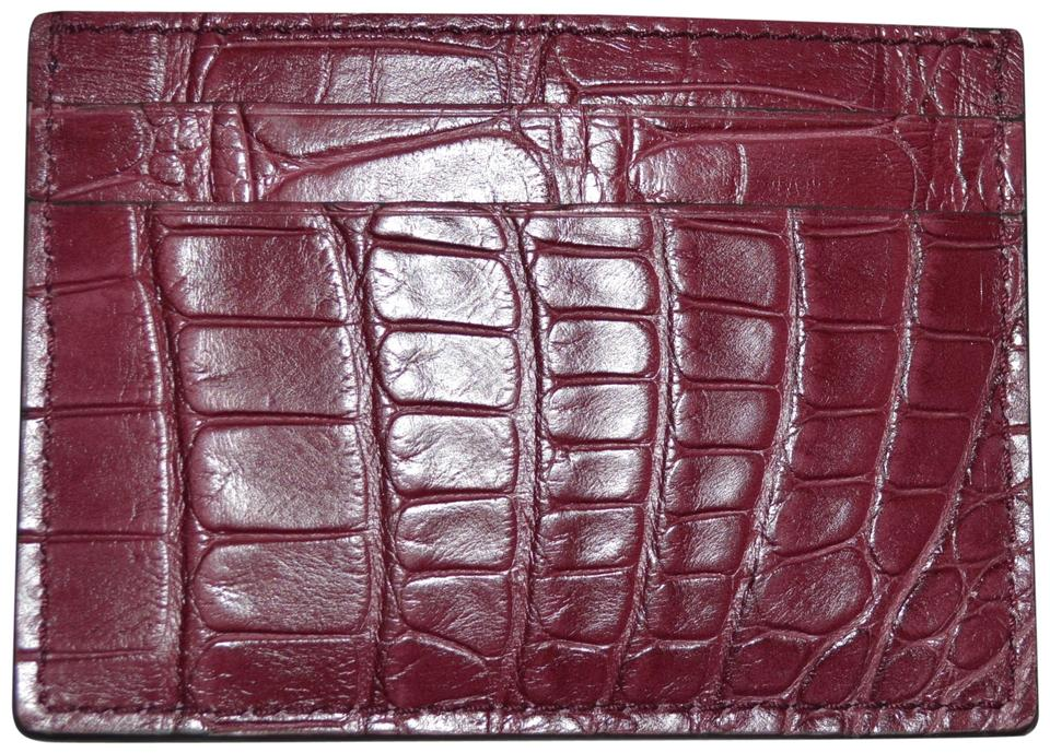 4294990478f Gucci NIB GUCCI CROCODILE LEATHER CARD CASE WALLET MADE IN ITALY Image 0 ...