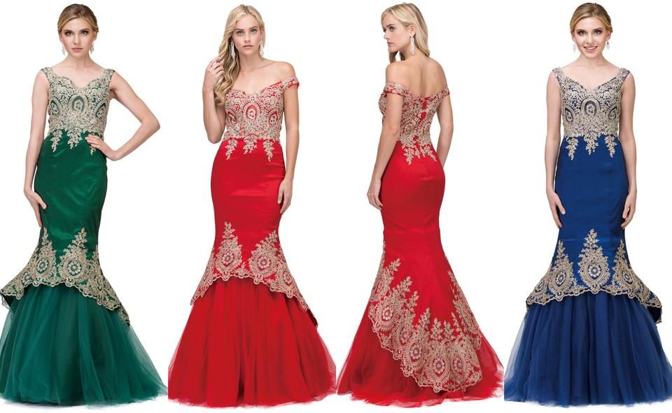 Red Taffeta Exquisite Lace Applique Low High Layer Skirt