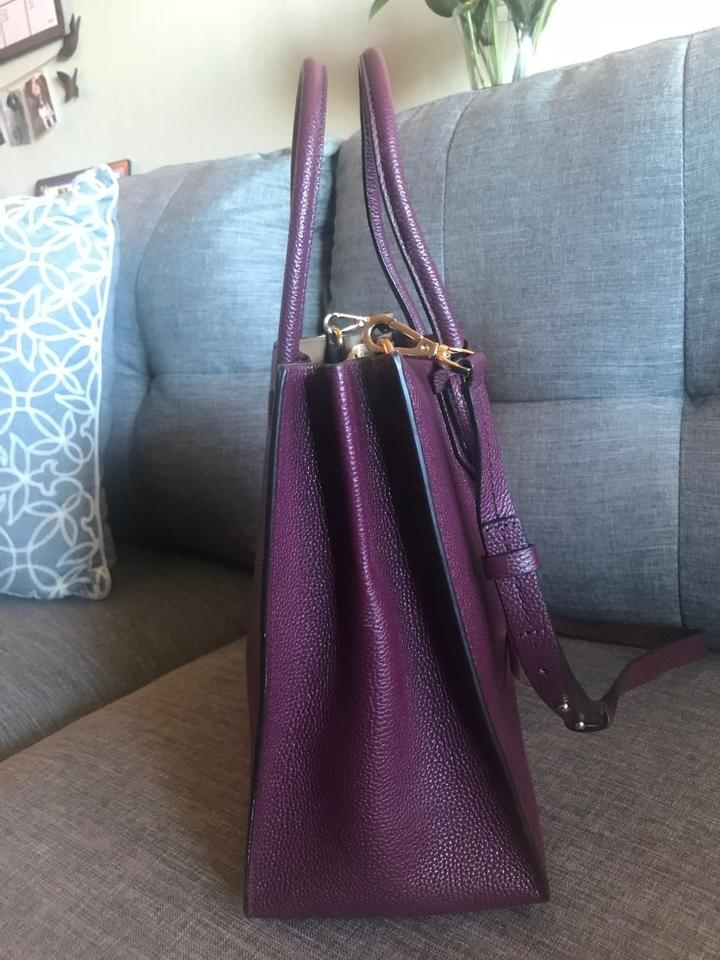 50442ef40141 Michael Kors Plum Purple Pebbled Mercer Tote in wine Image 7. 12345678