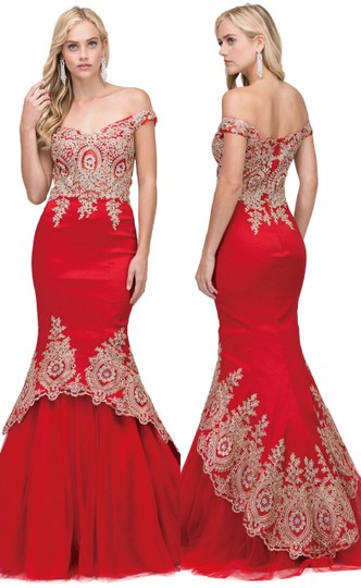 Red Taffeta Exquisite Lace Applique Low High Layer Skirt Mermaid Long Gown Formal Bridesmaid/Mob Dress Size 4 (S)
