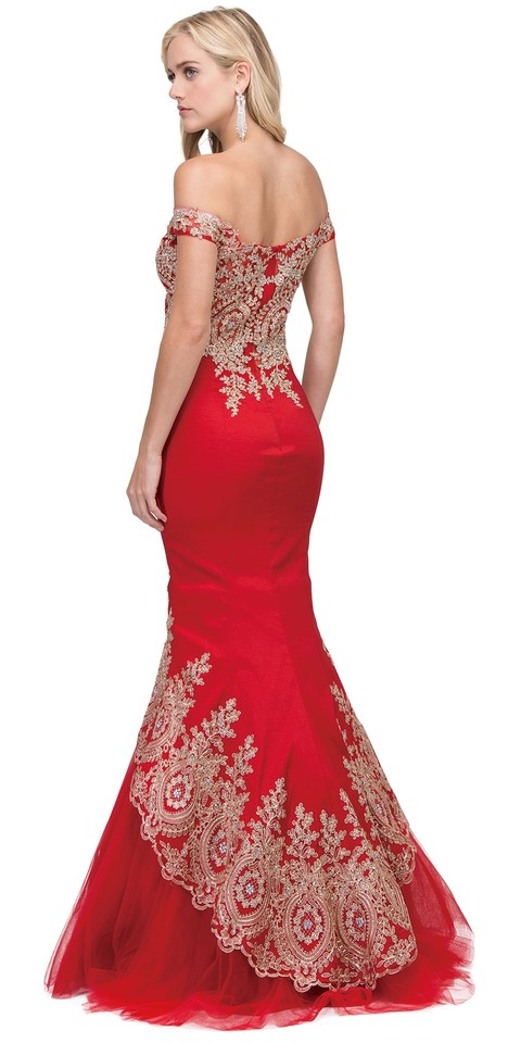 Red Taffeta Exquisite Lace Applique Low High Layer Skirt Mermaid ...