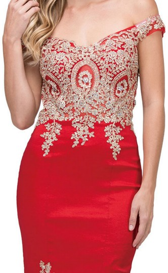 Red Taffeta Exquisite Lace Applique Low High Layer Skirt Mermaid Long Gown Formal Bridesmaid/Mob Dress Size 12 (L)
