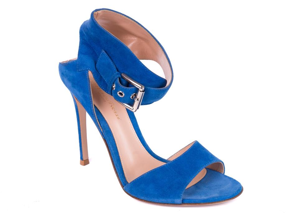 ed417854921 Gianvito Rossi Blue Suede Ankle Buckle Gladiator C1585 Sandals Size ...