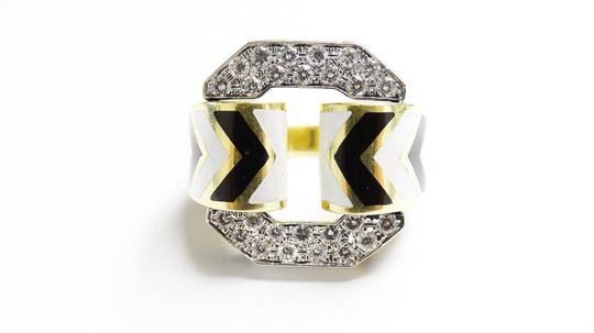David Webb F Vvs2 1.5 Ct Diamonds Zebra Enamel Patterning Of Chevron 18k Ring
