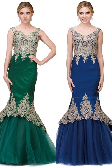 Hunter Green Taffeta Exquisite Lace Applique Low High Layer Skirt Mermaid Long Gown Formal Bridesmaid/Mob Dress Size 8 (M)
