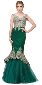 Hunter Green Taffeta Exquisite Lace Applique Low High Layer Skirt Mermaid Long Gown Formal Bridesmaid/Mob Dress Size 4 (S)