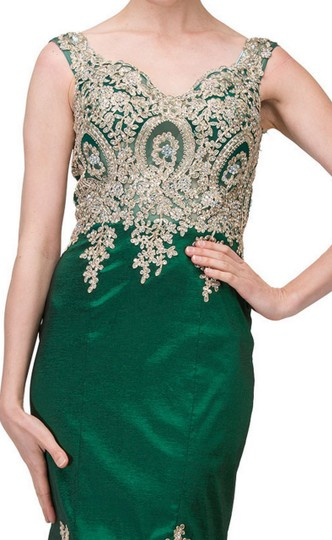 Hunter Green Taffeta Exquisite Lace Applique Low High Layer Skirt Mermaid Long Gown Formal Bridesmaid/Mob Dress Size 2 (XS)