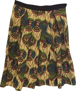 Marni Skirt Beige with brown and green print
