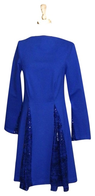 Preload https://img-static.tradesy.com/item/22995042/royal-blue-classic-with-sheer-sequined-godets-mid-length-cocktail-dress-size-4-s-0-1-650-650.jpg