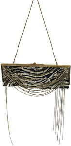 Badgley Mischka Sequin Hanging Chains Gold/BLACK/WHITE Clutch