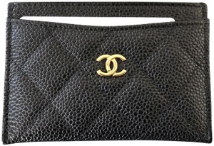 Chanel Classic Quilted Caviar Leather Multi Slot Gold CC Card Holder