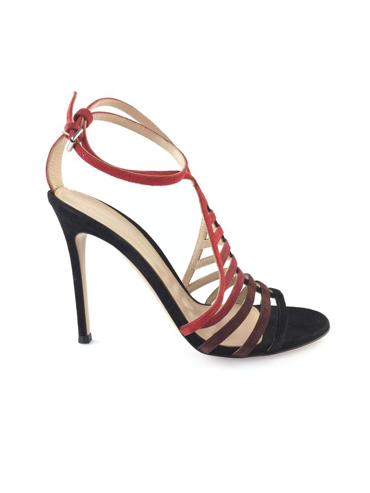 Gianvito Rossi Black/Red Suede Multi Suede Black/Red Caged Sandals a421f5