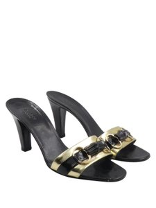 Gucci Gold/Black Leather Bamboo Horsebelt Black Mules