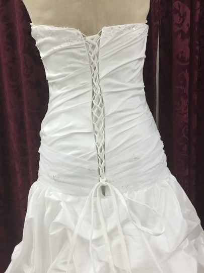 KittyChen Couture White White Taffeta and Tulle Scintillating Modern Dress Size 12 (L)