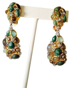 Alexis Bittar NWOT Labradorite, Turquoise & Amazonite Gemstone 14kt Dangle Earrings
