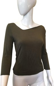Sarah Pacini Shirt Off Shoulder Tee Top Moss green
