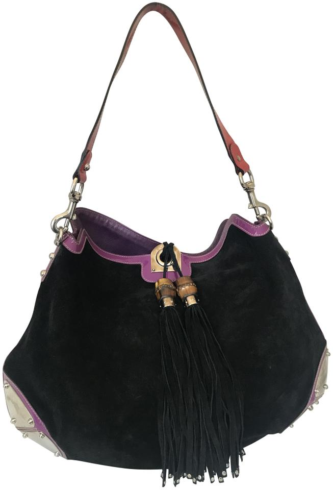 eac8ae0d45cef1 Gucci Indy Monogram Leather Large Tassel Black Suede Hobo Bag - Tradesy