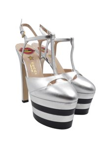 Gucci Angel T-strap Stacked Ankle Strap Metallic Silver Platforms