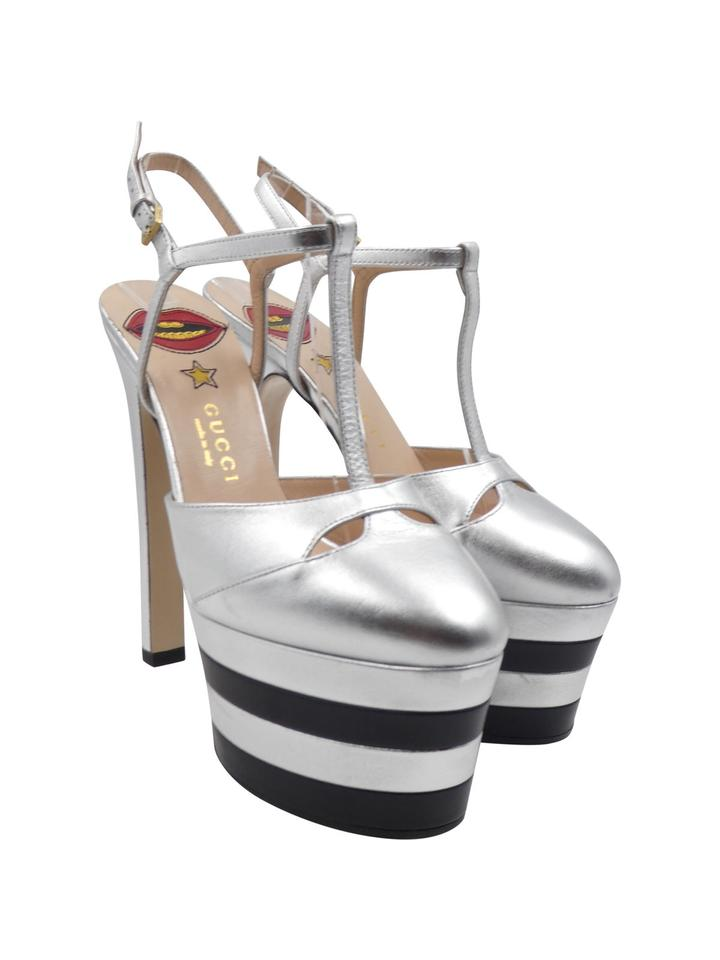 6c9d78ae97 Gucci Angel T-strap Stacked Ankle Strap Metallic Silver Platforms Image 0  ...