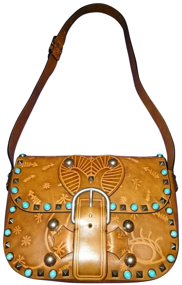 a68aa2728b9a Valentino Turquoise Studded Camel Leather Shoulder Bag - Tradesy