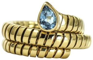 BVLGARI BULGARI Tubogas Serpenti Blue Topaz Ring in 18k Yellow Gold, Size 8