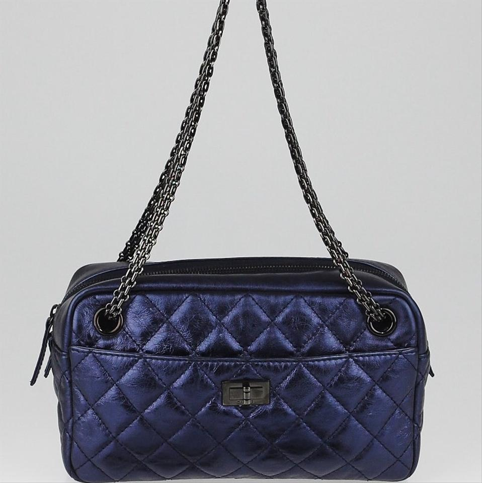 e73f1913dd0d Chanel 2.55 Reissue Camera Sm Blue Metallic Quilted Calfskin Leather  Shoulder Bag - Tradesy