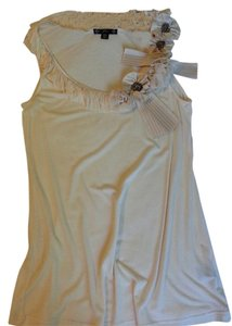 Filtre Sleeveless Satin Chain Dressy Handmade Top Cream