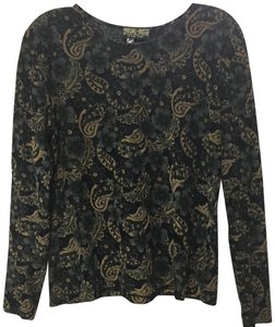 Marshall Rousso Long Sleeves Paisley Semi Sheer T Shirt Black Gold