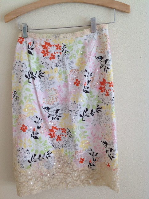 future paradise Skirt white floral/beaded/lace