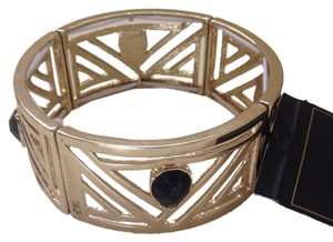 Nicole Miller Gold tone Black Stone Stretch Bangle Bracelet