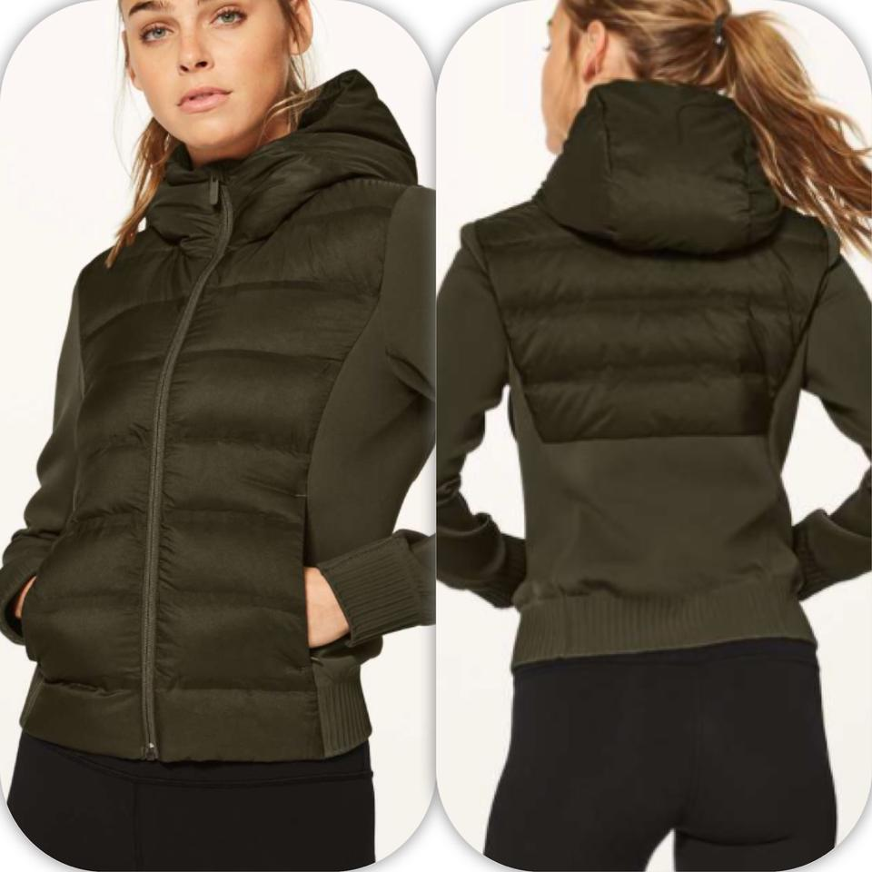 c5b7c04da Lululemon Armory Green Down and Around Bomber Reversible Activewear  Outerwear Size 10 (M)
