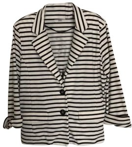 Erin London White with black horizontal stripes Blazer