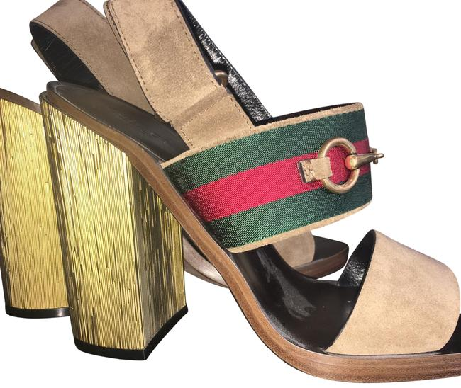 Item - Taupe Green and Red Gold Heel Suede Formal Shoes Size EU 39 (Approx. US 9) Regular (M, B)